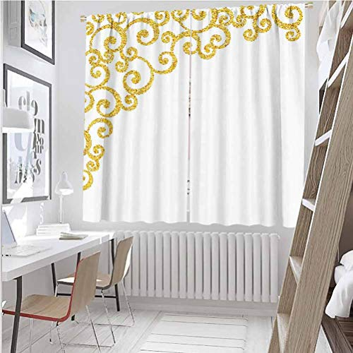 Gold and White All season insulation Side Frame of Floral Ivy Round Swirl Antique Victorian Details Artwork Noise reduction curtain panel living room W42 x L63 Inch Yellow and White