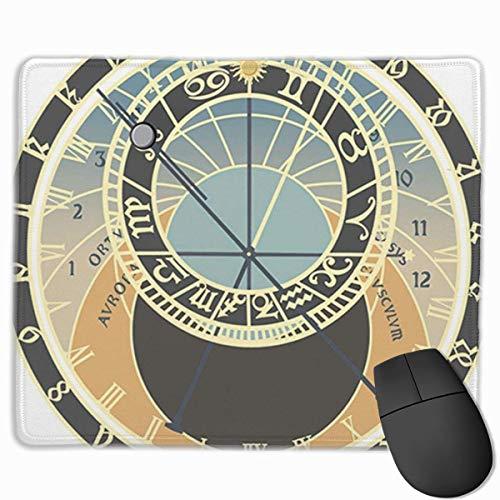 Nettes Gaming-Mauspad, Schreibtisch-Mauspad, kleine Mauspads für Laptop-Computer, Mausmatte Schwarz Astrologisch Prag Astronomische Uhr Grafik Analog Antike Antike