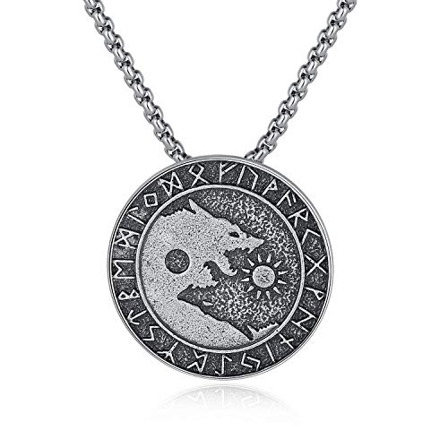 Holyheart Viking Wolf Necklace, Sons of Fenrir Pendant, Swallow The Sun and Sevour The Moon, Pagan Nordic Amulet Necklace, Original Animal Jewelry, Handmade Viking Necklace Gift for Men Unisex