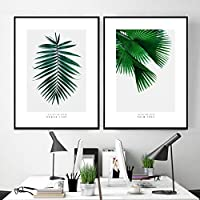 トロピカルパーム植物は北欧のポスターを残します壁アートキャンバス絵画ポスターとプリント壁の写真リビングルームの家の装飾-(50X70cm)X2フレームなし
