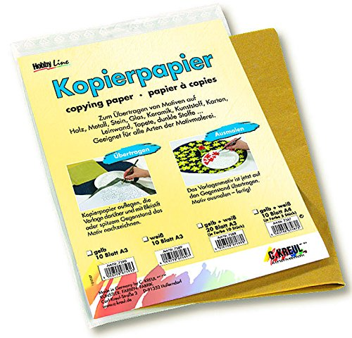 Pauspapier weiß für dunkle Untergründe, Blaupause, Graphitpapier 10 Blatt DIN A3