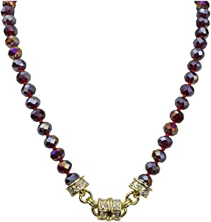 Kirks Folly Ruby Aurora Borealis Beaded Magnetic Interchangeable Necklace (Goldtone) July Birthstone