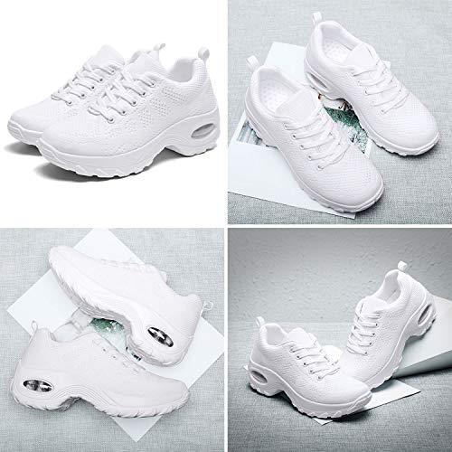 WOWEI Zapatillas Deportivas de Mujer Ligero Respirable Running Sneakers Mesh Plataforma Mocasines Zapatos de Cuña,Blanco,42 EU