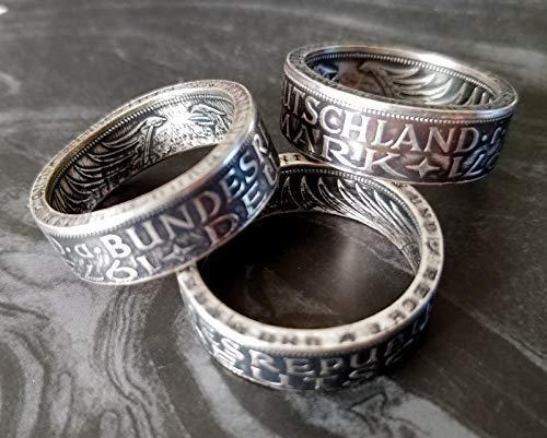 Coinring, Münzring, Ring aus Münze (1969 Heiermann - Silberadler - 5 Mark), 625er Silber - Double Sided coin ring - verschiedene Größen, Ihr handgeschmiedetes Unikat