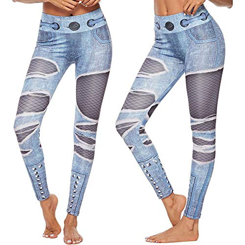 WYZTLNMA Leggings Sport Women Fitness Seamless Print Yoga Pants for Fitness Running Sports Pants Slim Gym Trousers Blue