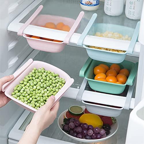 Organizador de cajones de nevera, organizador extraíble de cocina, cesta de almacenamiento, soporte de almacenamiento de partición de frigorífico para verduras y frutas (Gris)