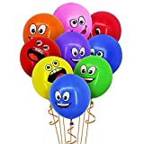 YueChen 100 Pcs Emoji Globos, Látex Globos, Smiley Face Globos para el cumpleaños del niño Suministros de Fiesta favores (Globos de colores)