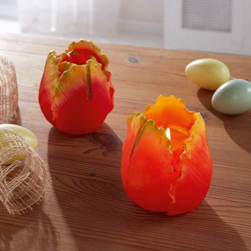 """Kerze """"Flower"""" orange Wachskerze Echtwachskerze Blüte Blume"""