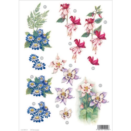 Fuchsia, Blue Daisy & Aquilegia Flowers 10 Die Cut 3d Decoupage Sheet By Craft UK