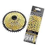 SM SunniMix Rueda Libre de Bicicleta de 9/10 Velocidades con 116 Eslabones Juego de Reemplazo de Cadena Piezas de Bicicleta - Oro 10 velocidades