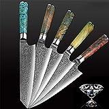 Alta qualità 1PCS acciaio di Damasco lama del cuoco unico professionista Japanes kiritsuke Gyuto mannaia for affettare Coltello da cucina cucina utensili damasco (Color : 1PCS Knife)