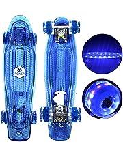 لوح تزلج XPOWER مقاس 55.88 سم 10 ألوان LED مؤثرات كروزر مع ABEC-7 عالية السرعة وعجلات LED من البولي يوريثان الناعمة، لوح تزلج للبنات والأولاد والبنات المبتدئين في الهواء الطلق