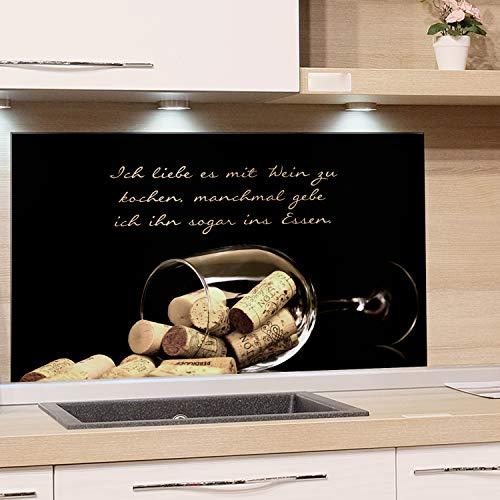 GRAZDesign Spritzschutz Küche für Herd Küchenrückwand Glas Spüle Bild-Motiv Weinglas mit Korken Küchenspiegel (100x60cm)
