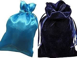"Tarot Bags: Navy Blue Velvet and Turquoise Satin Luxurious Duo Bundle 6"" X 9"""