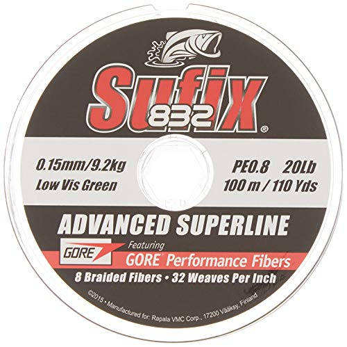 Sufix - 832 Advanced Superline 250, Color Verde, Talla 0.180 mm