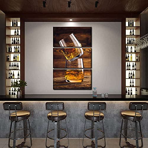 AWER Cuadro en lienzo abstracto moderno impresión de 3 piezas Whisky en whisky Hd Lienzo Decorativo para Tu Sala De Estar Dormitorios Decoración para El Hogar