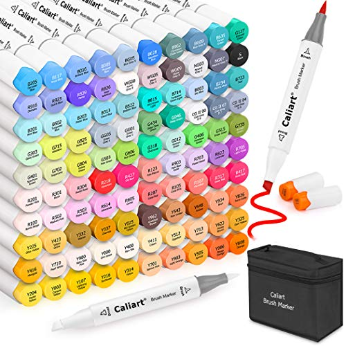 101 Colors Alcohol Brush Markers, Caliart Brush & Chisel Double Tipped Art Markers Permanent Sketch Markers for Adults Kids Coloring Artist Sketching Illustration Drawing Calligraphy, Plus 1 Blender