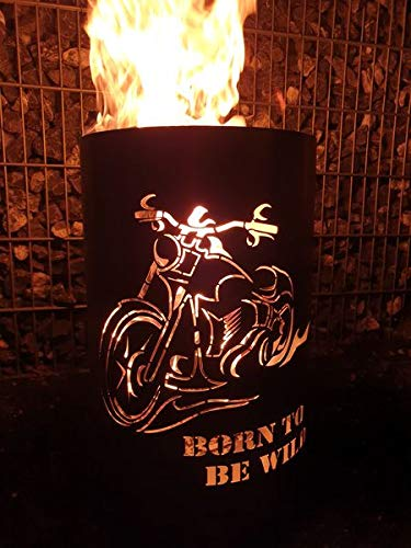 Tiko-Metalldesign Feuertonne/Feuerkorb mit Motiv Born to be wild