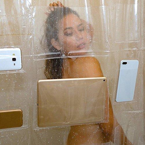 Le rideau de douche transparent avec poches Zdmathe