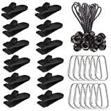 LOCOLO 12Pcs Tarp Clips & 12 Pcs Buckle and 12Pcs of 5 Inch Ball Bungee Cords, Heavy Duty Multi-Purpose Thumb Screw Strong Lock Grip Tent Clamps (Style 2)