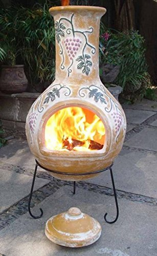 Extra Large Clay Chiminea - 125cm Chimenea with a Stylish Design for Heating your Garden or Patio - Portable with Metal Stand