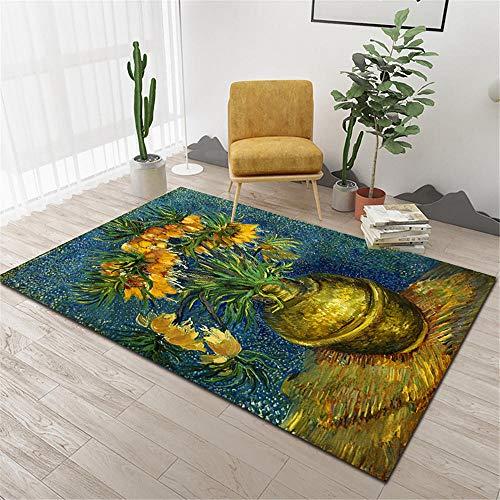 Kunsen La Alfombra Suave Duradera sofá Alfombra Azul Verde Amarillo Pintura al óleo Estilo Tinta Graffiti Estampado Floral Resistente al Desgaste Alfombras 120 * 170cm