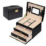 Meerveil Schmuckkästchen, Kosmetikkoffer mit 3 Ebenen, PU Leder, Abschließbarer Schmuckkasten mit Spiegel, Geschenk