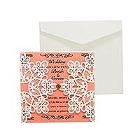 Kloware 結婚の約束のための10個の結婚式のレセプション場所の招待カードキット - 白