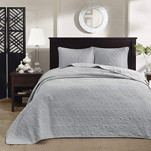 Madison Park Quebec King Size Quilt Bedding Set - Grey , Damask – 3 Piece Bedding Quilt Coverlets – Ultra Soft Microfiber Bed Quilts Quilted Coverlet