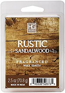 Hosley Rustic Sandalwood Scented Wax Cubes Melts 2.5 Ounce Hand Poured Wax Infused with Essential Oils Perfect for Everyday Use Wedding Special Events Aromatherapy Spa Reiki Meditation O4