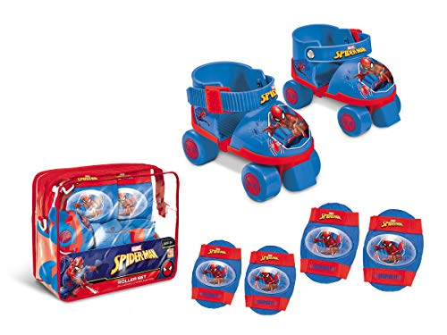 Spiderman-18390 Spiderman Set de Patines Infantiles con Protecciones, Talla 22 a 29, Mondo 18390
