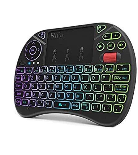 RiiTek X8 Azerty, Mini Clavier Rétroéclairé sans Fil avec Touchpad, LED Rétro-Éclairé, pour Smart TV, PC, Mini PC,Raspberry Pi 3,Console de Jeux, Ordinateurs Portables et Android Box