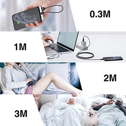 RAVIAD iPhone Ladekabel, [4Pack 0.3M+1M+2M+3M] Lightning Kabel Nylon iPhone Kabel für iPhone 11, XS, XS Max, XR, X, 8, 8 Plus, 7, 7 Plus, 6s, 6s Plus, 6, 6 Plus, SE, 5s, 5c, 5, iPad Mini/Air/Pro