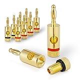 Sentivus SC000-08 Bananenstecker Premium (8er-Set) für alle Lautsprecherkabel mit einem Durchmesser von max. 6mm², 8 Stück mit Farbcodierung (4x rot, 4x schwarz), 24k vergoldet, 8-er Set -