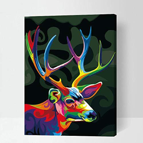 ZWXDMY Peinture À l'huile Numérique,Peinture par Numéros Adultes,Kits Couleur Animal Deer DIY Enfants Coloration Acrylique Peinture Peinte À La Main,Thème Abstract Art Mural Décoration Salon Chambre