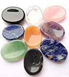 CRYSTALMIRACLE Beautiful Seven Chakra Worry Stones Metaphysical Crystal Healing Success Health Wealth Reiki FENG Shui Home Positive Energy Gemstone Thumb Stones