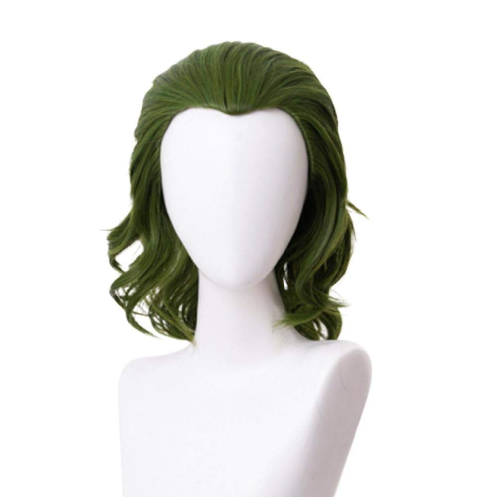 LIANA IRWIN Joker Clown COS Wig,Cosplay Wig,Adult Cosplay Clown Green Short Curly Hair Creepy Costume Fancy Dress Party Props,Joker Cosplay Wig Hairpiece Props Accessories