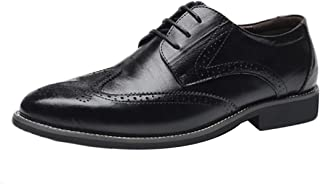 Fulision Men's Leather Shoes Oxford Retro Leisure Bullock Carving Classic Modern Pointed Business lace-up Shoes