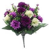 Bouquet de fleurs artificielles lilas violet et crème 41cm