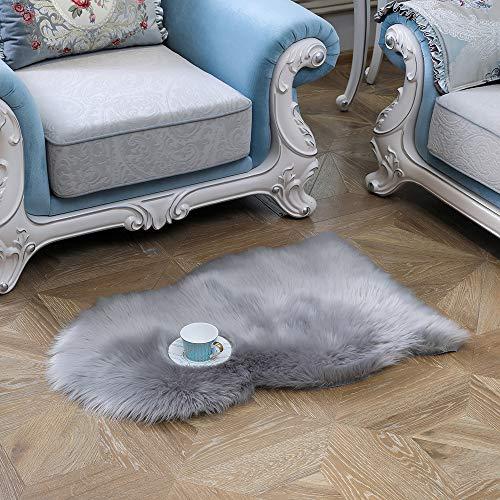JIWIDO Luxuriöses, weiches Kunstfell-Imitat, Couch-Sitzkissen, Teppich für Schlafzimmer und Wohnzimmer, Sofa, 50 x 90 cm, Grau