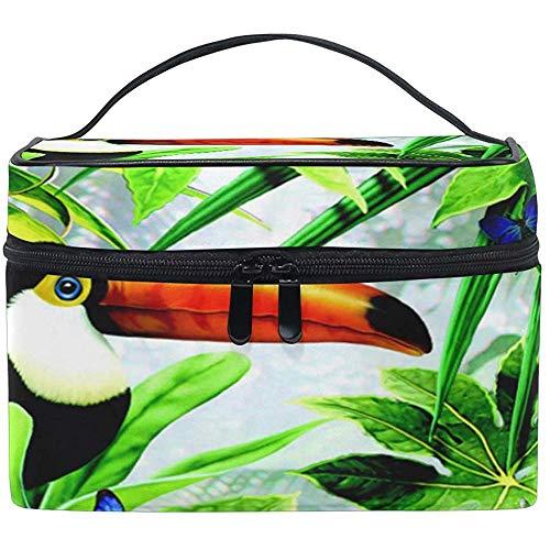 Grand Maquillage Sac Organisateur Feuilles Tropicales Toucan Papillon Cosmétique Cas Sac Toilette De Stockage Portable Zipper Poche Voyage Brosse Sac