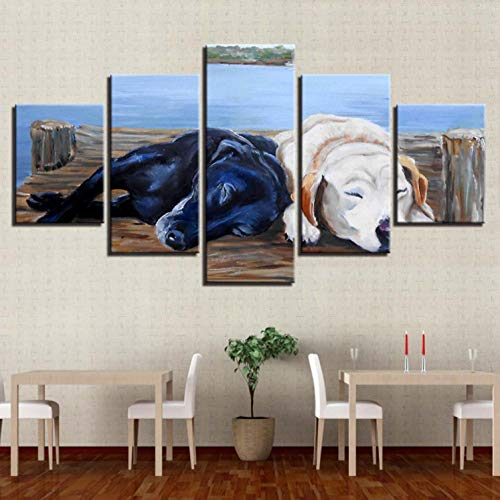Drucke Auf Leinwand 5 Stücke Wandbild - Schwarzer Hund Weißer Hund - Leinwandbild Visuelle Erfahrung Poster Für Zimmer Wohnzimmer Wand Home Salon Büro Modern Geschenke - 200X100Cm
