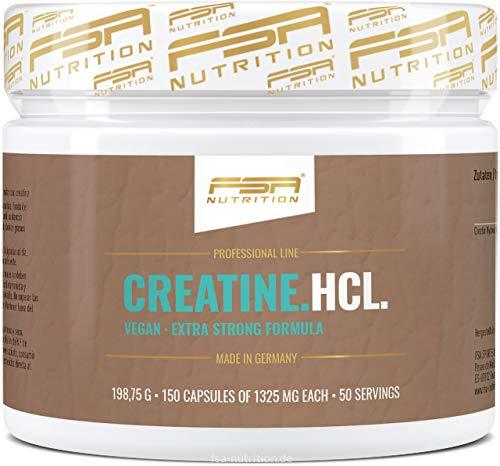 Creatin HCL Kapseln, 1000 mg Kreatin Hydrochlorid pro Kapsel, Vegan, 150 Kapseln, Hergestellt in Deutschland - FSA Nutrition