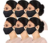 6 Pack Daily Reusable Face Cover Washable Double Layer Facial Cover, Made in USA (6 Pk Black, One Size)