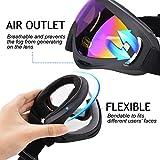 Ski Goggles, Fascia Girl 2-Pack Snowmobile Snowboard Skate Gafas de esquí con protección UV 400 Protección contra el Viento y el Polvo para la Bicicleta de Snowboard y Otros Deportes al Aire Libre