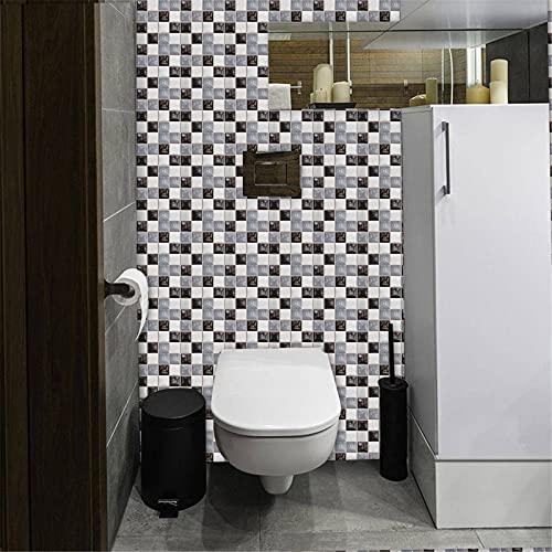 Acmxk Azulejos Adhesivos para Sala de Estar Dormitorio Cocina Baño, Mosaico de Lentejuelas 3D de cerámica DIY Papel Pintado, Impermeable Protector contra Salpicaduras 10 Piezas/Juego