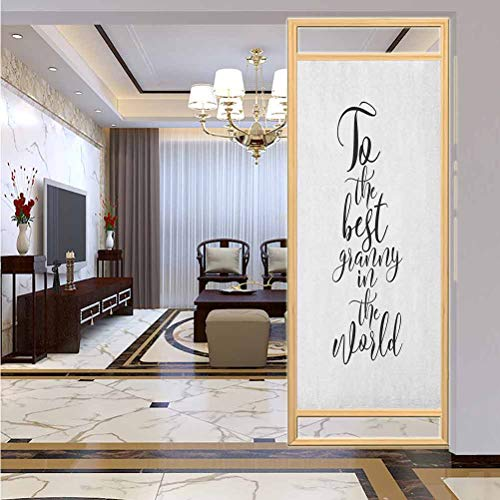 "W 17.7"" x L 35.4"" UV Glass Film Window Home Office Living Room,to The Best Grandmother in The World Quote Monochrome Hand Lettering Illustration Black White"