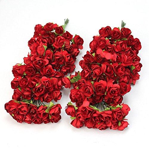 outflower 144pc Mini Künstliche Papier Rose Blume Hochzeit Dekoration Karte Decor Craft–Violett, Papier, rot, 2cm