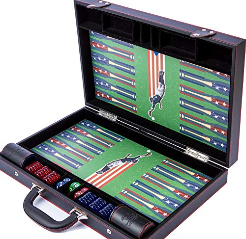 Backgammon Set Board Game - Baseball Themed- Premium Large Size Classic Game – for Kids and Adults, Deluxe PU Leather