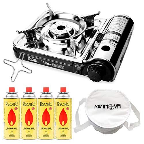 Mianova Gaskocher Campingkocher RS-7000DFS im Koffer Shisha Kohle Anzünder Gaskartuschen Gaskreuz Kohleanzünder Grillanzünder mit 4 Gasflaschen Kühltasche
